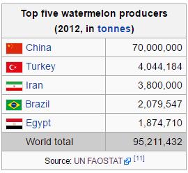 Top 5 países que produzem mais melancia