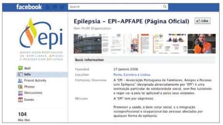 Associação Portuguesa de Familiares, Amigos e Pessoas com Epilepsia (EPI) no Facebook