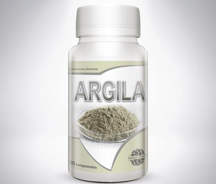 Argila em comprimidos, cápsulas
