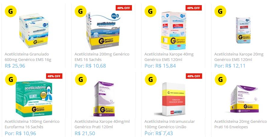 Acetilcisteína Preço em forma de xarope e comprimidos