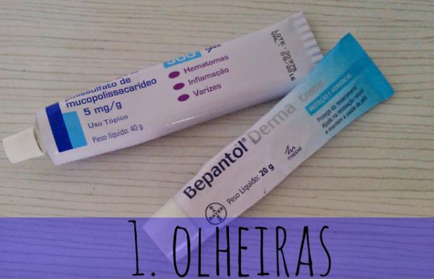 Bepantol Derma + Pomada Hirudoid 500 para olheiras
