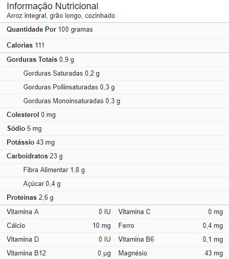 Informação Nutricional Do Arroz Integral