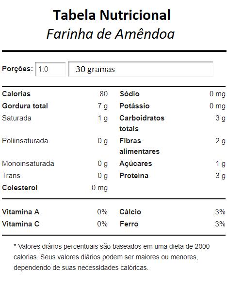 Tabela Nutricional Da Farinha De Amêndoa